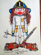 Firefighter Jamie Hayes New Orleans Original Color Pencil Drawing Fireman