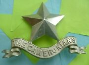 The Cameronians Scottish Rifles Regiment Pipers Glengarry Badge 2 Lugs Antique