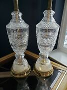 Pair Of Baccarat Style Hollywood Regency Cut Crystal Lamps Table 26.5
