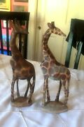 Set Of 2 Pair Hand Carved Painted African Wood Art Giraffe Statues11.5andrdquo Nice