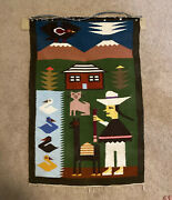 Vintage Peruvian Hand Woven Textile Tapestry South American Hanging Wall Art