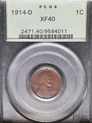 1914 D Lincoln Cent Pcgs Xf40 Old Green Holder Ogh