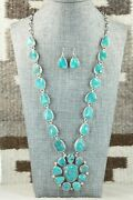 Turquoise And Sterling Silver Necklace And Earrings Set - Wydell Billie