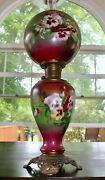 Antique Victorian Gone With The Wind Oil Lamp Gwtw Parlor Lamp All Original
