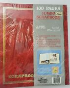 Vtg 11x14 Red Jumbo Scrapbook Gold Embossed 100 Pages 50 Sheets, New