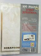 Vtg 11x14 Creamy Jumbo Scrapbook Gold Embossed 100 Pages 50 Sheets,