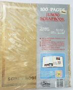 Vtg 11x14 Cream Coffee Jumbo Scrapbook Gold Embossed 100 Pages 50 Sheets,