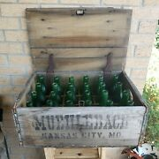 Vintage Muehlebach Brewery Wood Crate Con Beer Bottles Kansas City Prohibition