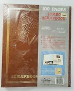 Vtg 11x14 Brown Jumbo Scrapbook Gold Embossed 100 Pages 50 Sheets,