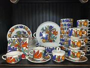 Villeroy And Boch Acapulco Milano Shape Blue Stamp 46 Piece Set-mint
