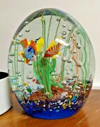 Vintage Murano Glass Aquarium 3 Fish With Light Stand. Made In Italy