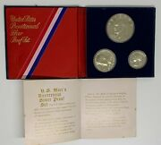 1776-1976 Us Bicentennial Silver Proof Set Of 3 Coins
