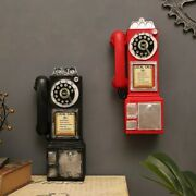 Vintage Rotate Classic Dial Pay Phone Model Resin Retro Booth Telepho Decoration