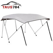 4bow Bimini Top Boat Cover Waterproof 8and039l X 73-78 W 54high W/ Rear Poles Gray