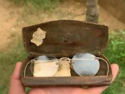 Old Antique Brass Gold Police Vintage Spectacle Eyeglass Wire Frame Iron Case