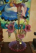 An Antique Rare Victorian Beautiful Epergne With Baskets And Raretwist Canes