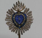 Antique Genuine Reliquary Jeweled Flaming Heart Of Mary Ex Voto On A Stand