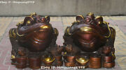 23 Pure Bronze Gilt Wealth Golden Toad Spittor Beast Yuanbao Coin Statue Pair