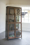 Kalalou Metal And Wood Slanted Display Cabinet With Glass Doors Cll2219