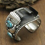 Southwestern Vintage Sterling Silver Turquoise Watch Cuff