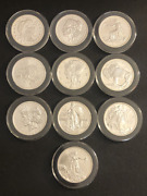 Rare Zombucks Complete Set 10 Coins 1 Oz Silver In Capsules Walker To Saint
