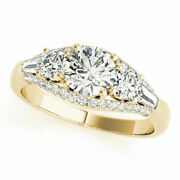 1.40 Ct Real Diamond Engagement Ring Round Cut 14k Yellow Gold Size 8
