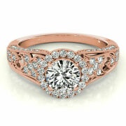 1.10 Ct Round Cut Solitaire Diamond Engagement Ring 14k Rose Gold Size 4