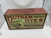 Antique Putnam Fadeless Dyes And Tint Metal Display 21 X 10.5 X 7