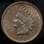 1903 Indian Head Cent Penny -- Choice Bu With Red-brown Mint Luster