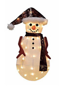 Candy Cane Lane 3d Pre-lit Yard Art Décor Snowman In Camo Jacket Lighted Display