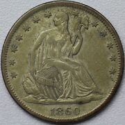 1860-s 50c Seated Liberty Half Dollar - About Uncirclated