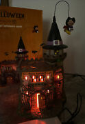 Rare Dept 56 Village Flying Mickey's Halloween Castle Animated Lighted Witch