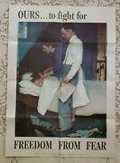 Original Wwii Poster Freedom From Fear By Norman Rockwell 1943 20x28 Excellent
