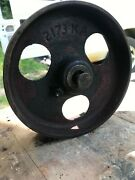 Cast Iron Wheel Tractor Cart Antique Industrial Steampunk 3 Hole Red 2173ka