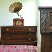 Antique Victorian Eastlake Dresser, Chest, Tv Console, Carved Wood, Marble Top