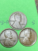 1915-pds Lincoln Wheat Cents 3 Nice Coins For Your Collection 5