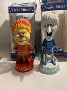 2006 Neca Year Without Santa Claus Snow And Heat Miser Set Of 2 Rare Nodders Boxed