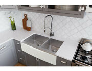 Elkay Crosstown Stainless Double Farmhouse Sink With Interchangeable Apron-white