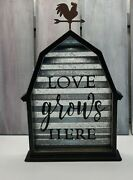 Love Grows Here Wood And Galvanized Metal Sign Farmhouse Decor