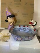Jim Shore Apple Ace Halloween Party Candy Dish Peanuts Lucy Snoopy 6000982