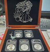 The Complete Set Of American Eagle Silver Dollars Coin Collection W/ Wooden Box