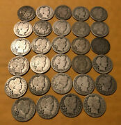 Lot Of 29 1908 And 1915 Barber 90 Silver Quarters Full Dates