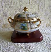 Nippon Morimura Tri-handle - 4 Footed Blue Flowers Covered Dish Oyster Jar