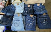 Womens American Eagle Jeans Lot 8 Pairs Jeggings Distressed Stretch Size 00
