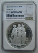 Ngc Pf70 Uk British St.helena 2021 Great Engravers Three Graces Silver Coin 2oz