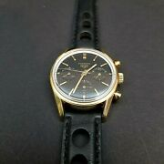Heuer Carrera Ref 2448n Valjoux 72 Gold Plated Chronograph 1960and039s 1st Execution