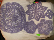 Crocheted 10 Pc Lavender Doilies Doily 3 6 8 11-1/2 And 15 New Made In Usa