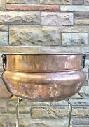 Antique Large Hammered Copper Caudron Kettle Pot Tub Iron Handles Dovetailed