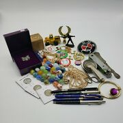 Junk Drawer Lot Coins Marbles Advertising Silver Eagle Knife Political Jewelry