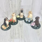 Lot Of 5 Byers' Choice The Carolers 2014 Spring Dog Figurines